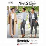 8749 Simplicity Pattern: Misses' and Plus Size Coat and Trousers